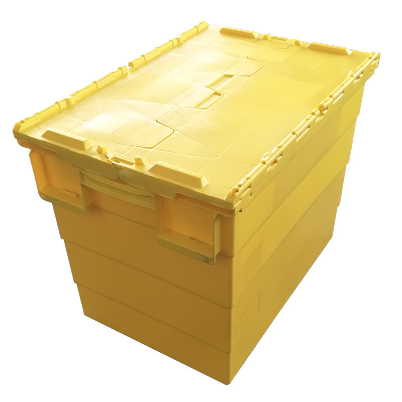 China 750 570 625mm Hot Storage Logistics Plastic Attached Lid Container Tote Box Crate