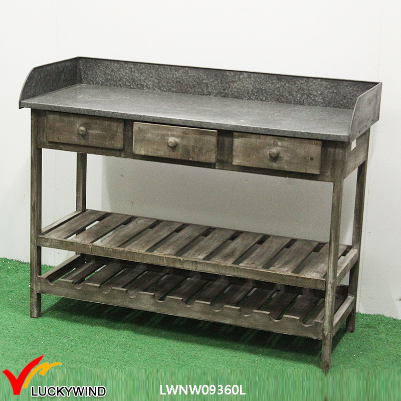 China Shabby Country Zinc Top Console Table With Wine Rack