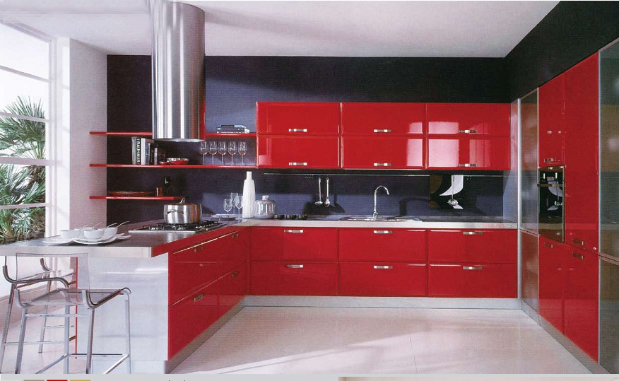 [Hot Item] Luxury Design Shiny High Gloss Red Lacquer Kitchen Cabinets