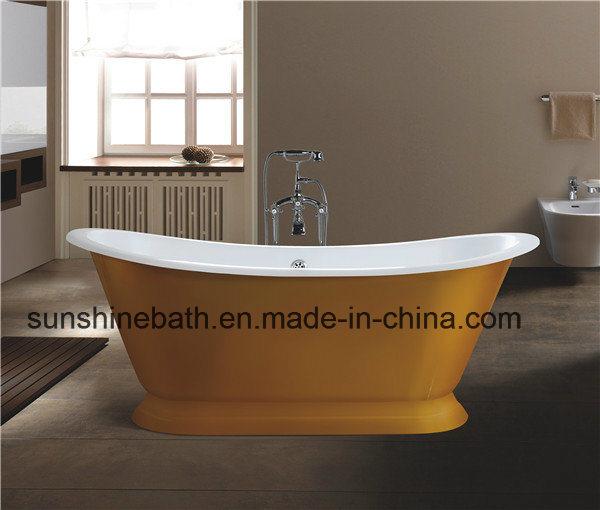 China Double Ended Freestanding Pedestal Cast Iron Bath Tub Sw-1009e ...