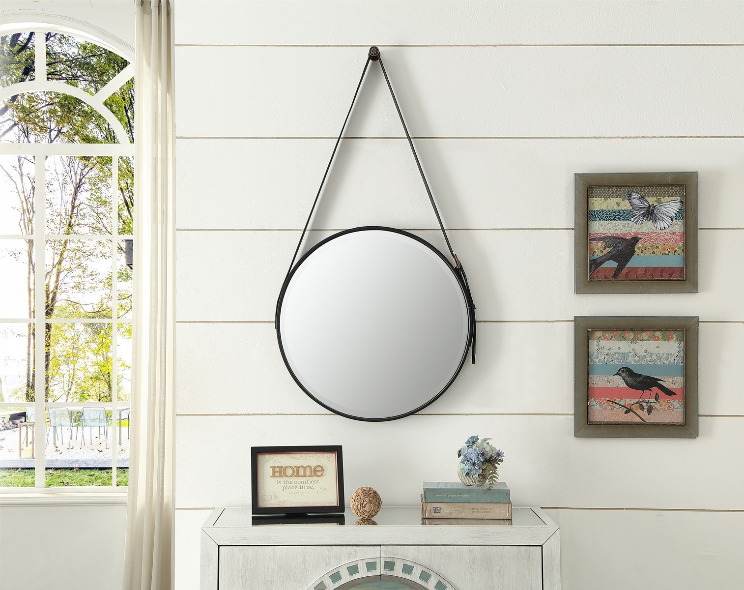 China Wall Mounted Black Color Frame Bathroom Vanity Mirror With Rope Or Leather Belt China Decorative Mirror Wall Mirror