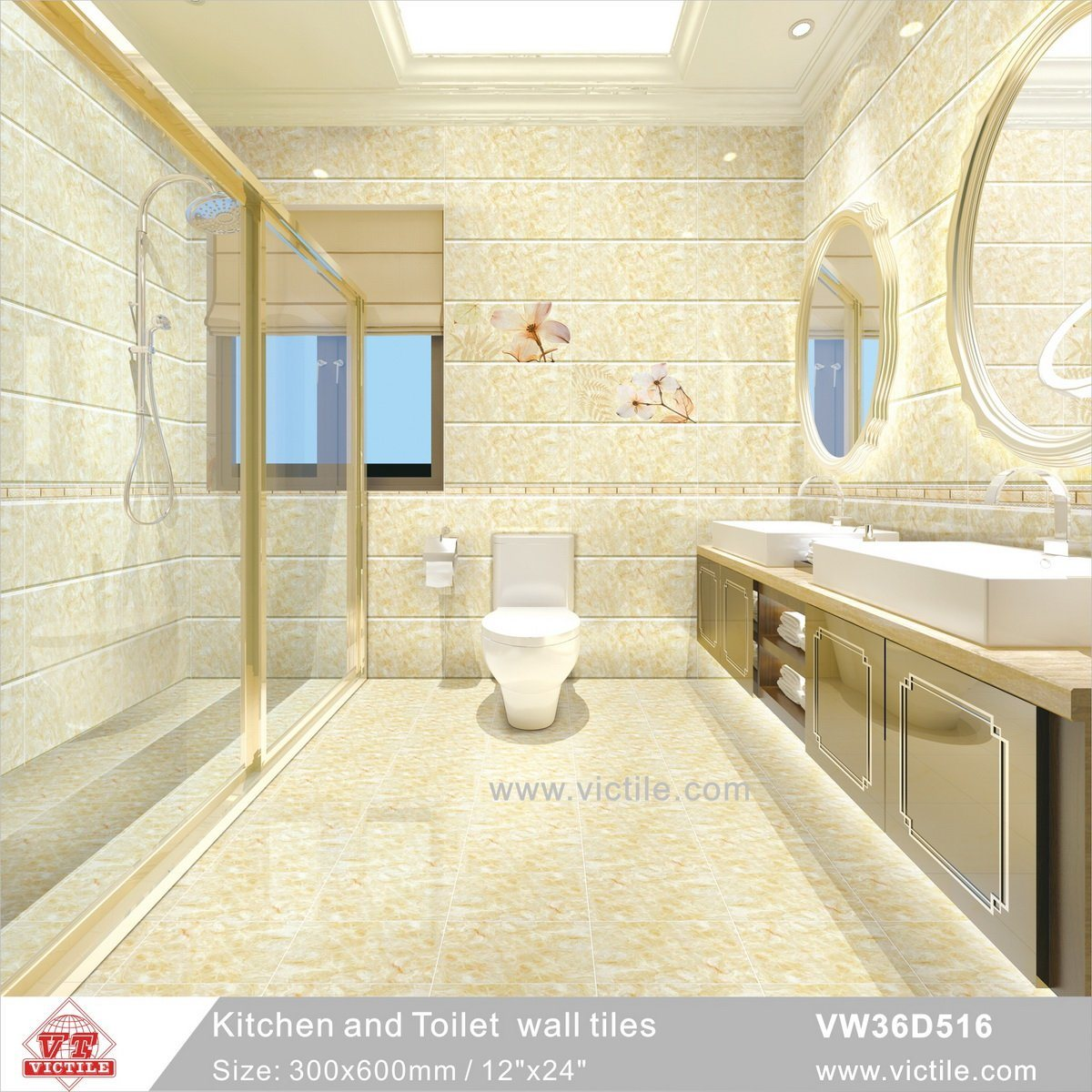 China Building Material Ceramic Kitchen Bathroom Ivory Color Wall ...