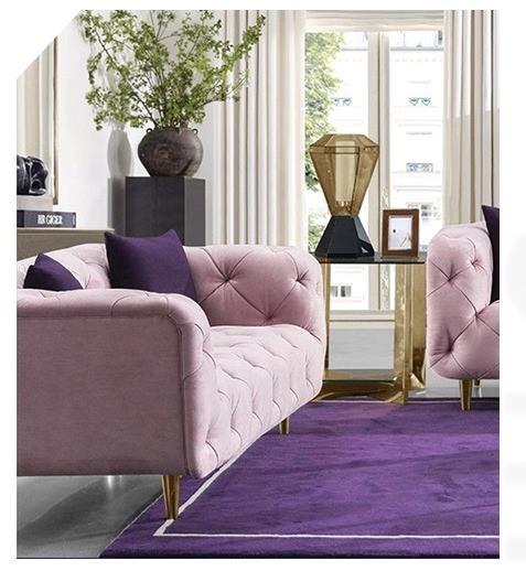 Design Furniture Couch Pink Velvet Sofa