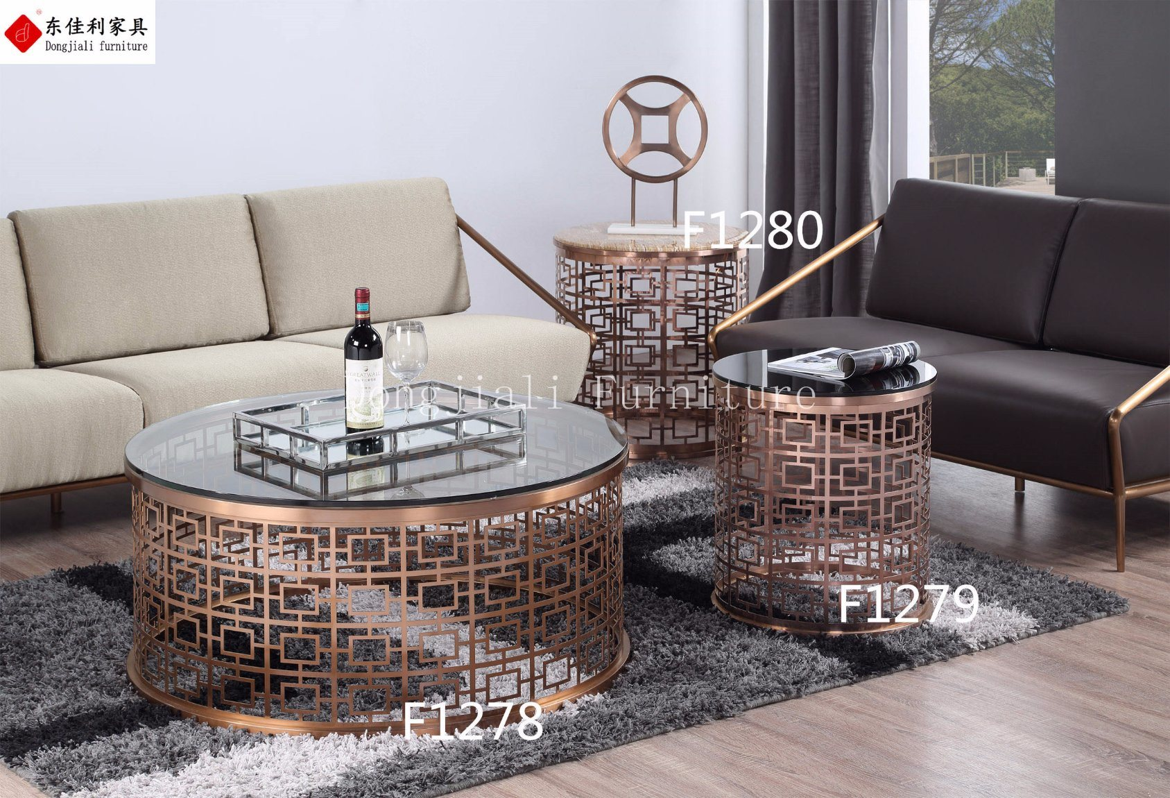 - China Round Glass Coffee Table Set With Stainless Steel Frame