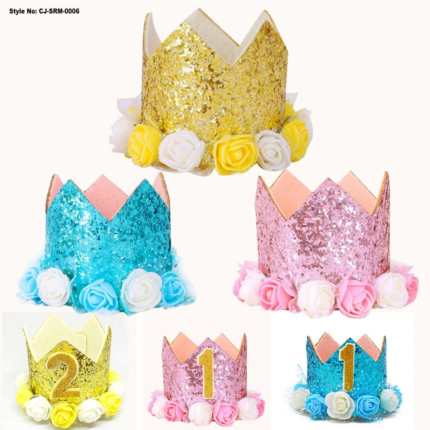 China Baby Princess Crown Birthday Hat Gold Flower Style Paper