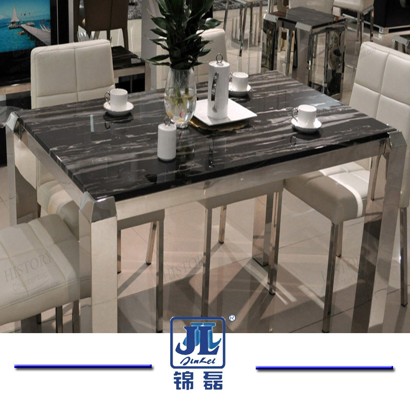 Hot Item Natural Stone Round Rectangle Silver Dragon Marble Top Dining Table For Home Furniture