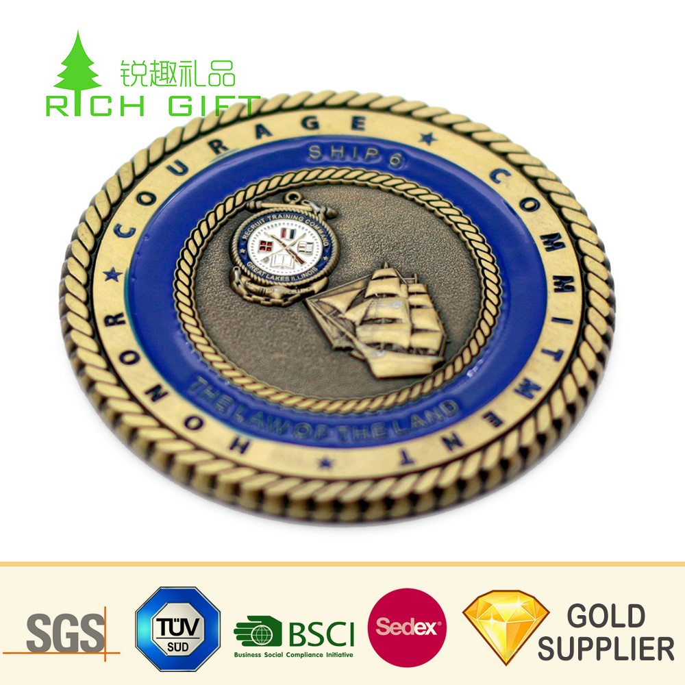 [Hot Item] Wholesale China Custom Metal Die Struck Double Sided 3D Antique  Brass Plated Masonic Challenge Coins