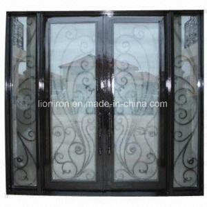 Double Wrought Iron Door With Side Lights