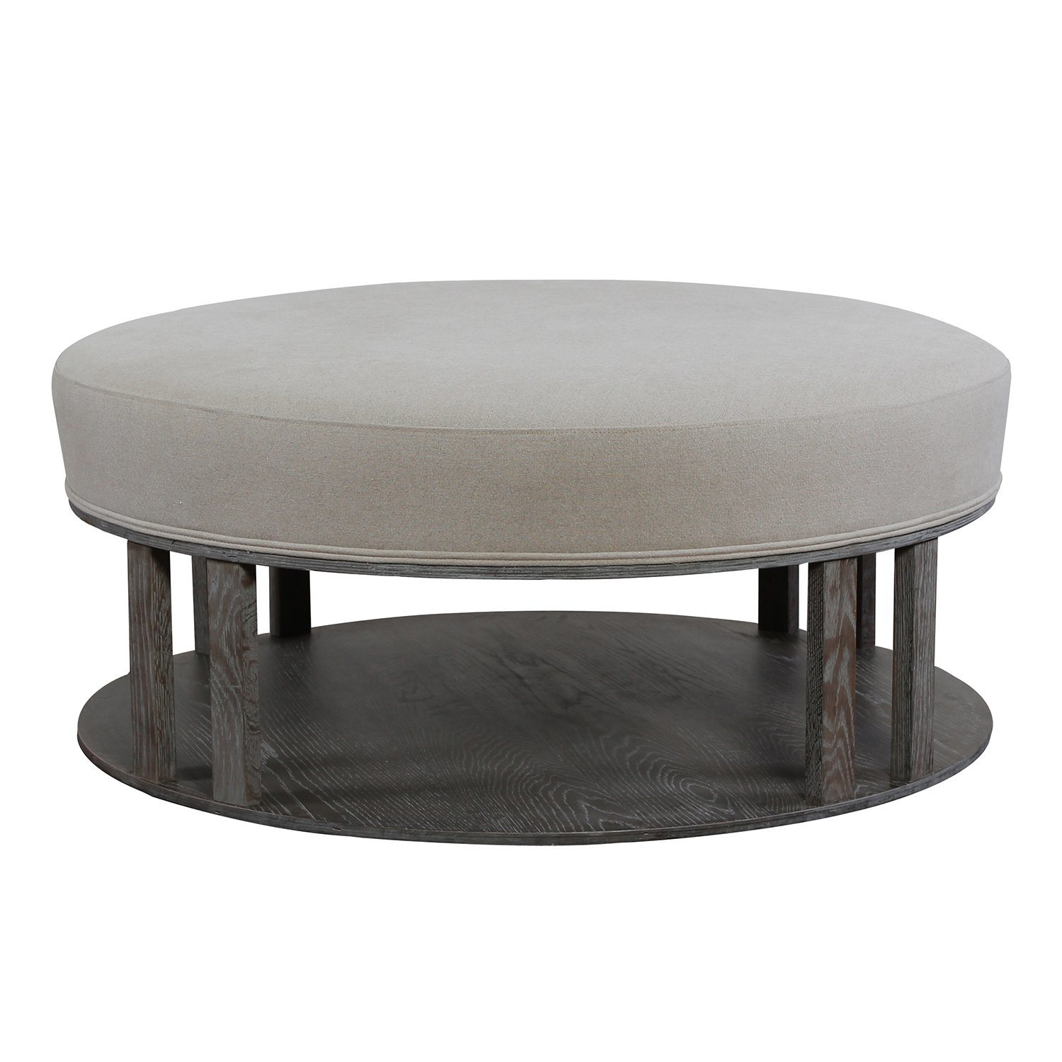 - China Round Upholstered Coffee Table Large Fabric Ottoman - China
