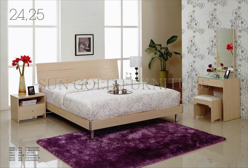 White Varnish Bed / Modern Bedroom Furniture Set / Home Furniture (SZ BF149)