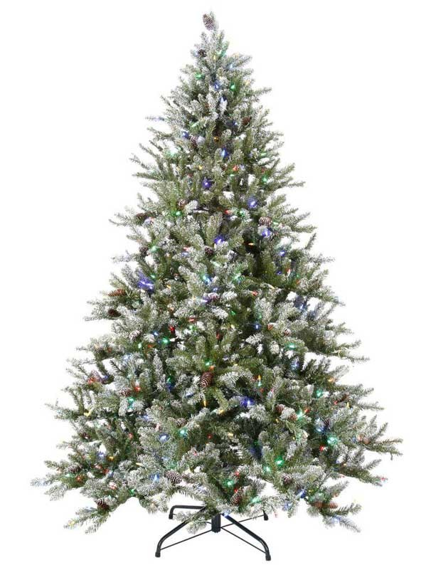 7.5FT LED Pre-Lit Snowy Pine Artificial Christmas Tree with Pine Cones and Multi-Color Lights (MY100.094.00)