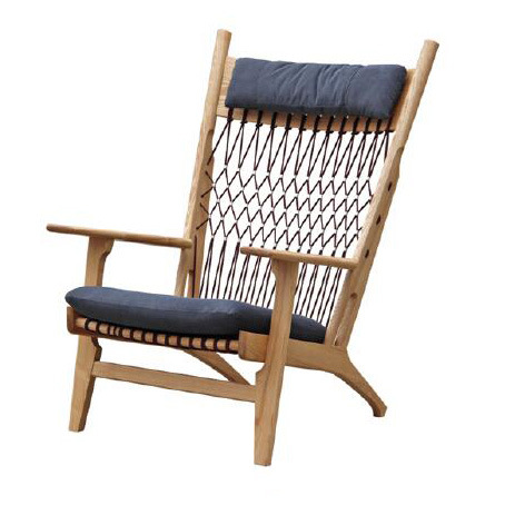 Terrific Hot Item Wholesale Outdoor Furniture Leisure Fabric Padded Seat Mesh Rope Back Wooden Lounge Chair Machost Co Dining Chair Design Ideas Machostcouk