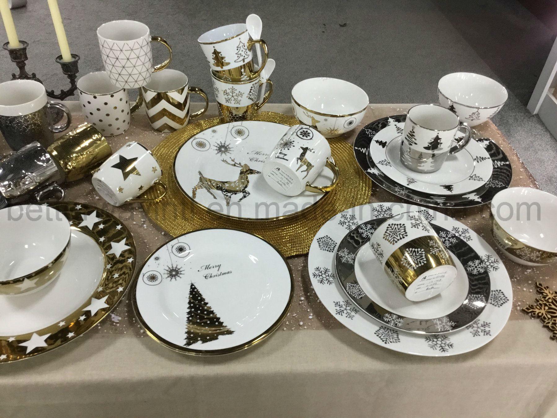 Christmas Plate Set.Hot Item New Bone China Dinner Set With Gold Christmas Design