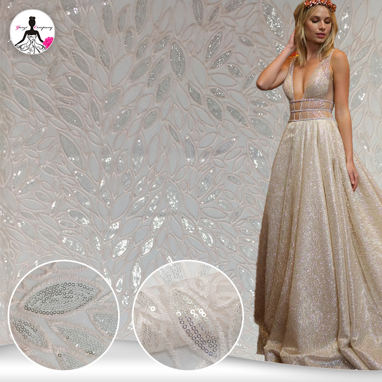 GLITTER METALLIC Corded Lace Fabric Embroidery Bridal Evening Prom Dress