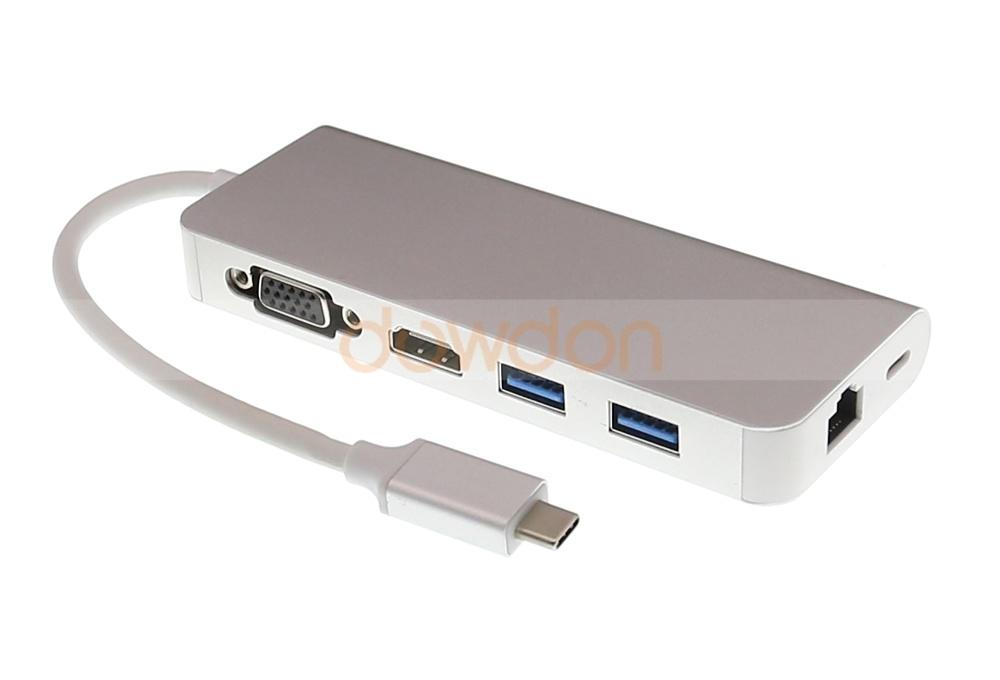 China Thunderbolt 3 6 in 1 USB -C Type C to 2 USB 3 0 Hub