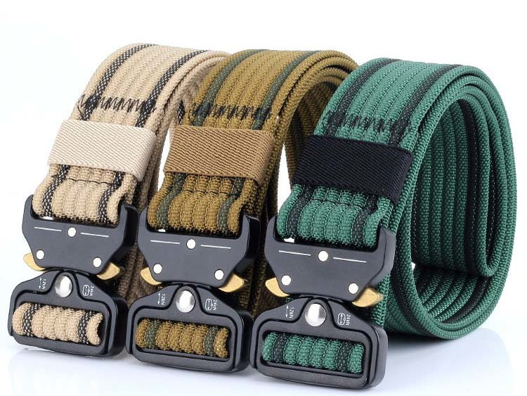[Hot Item] Tactical Belt, Military Style Webbing Belt with Heavy-Duty  Quick-Release Metal Alloy Buckle