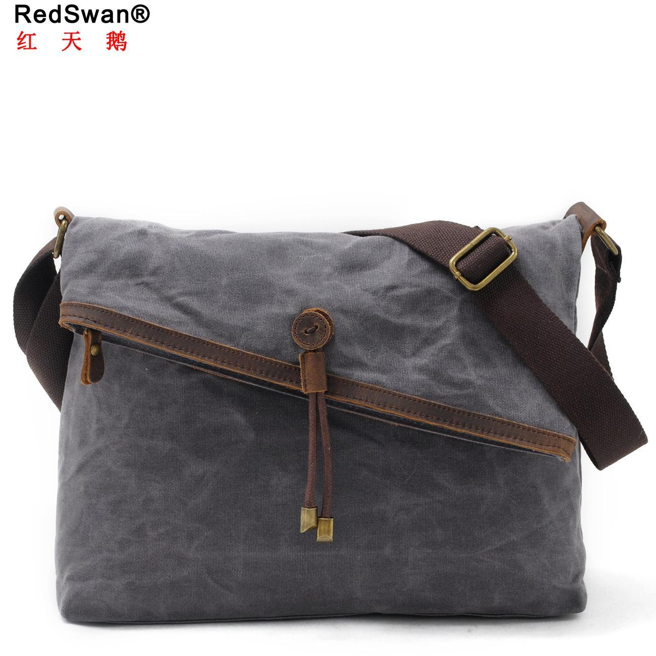 de62883ae651 Waxed Canvas Leather Trims New Designer Woman and Men′s Shoulder Military  Bag (RS-9121-F)