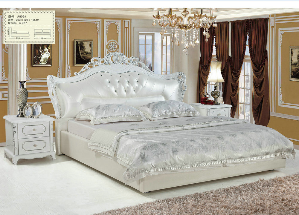 China Royal Bedroom Furniture Sets Wooden Carved Leather Bed A805