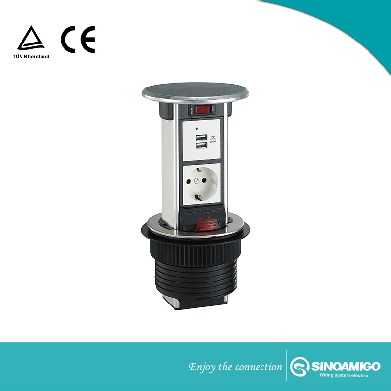 China Vertical Pop Up Waterproof Outlet For Kitchen Desk Table