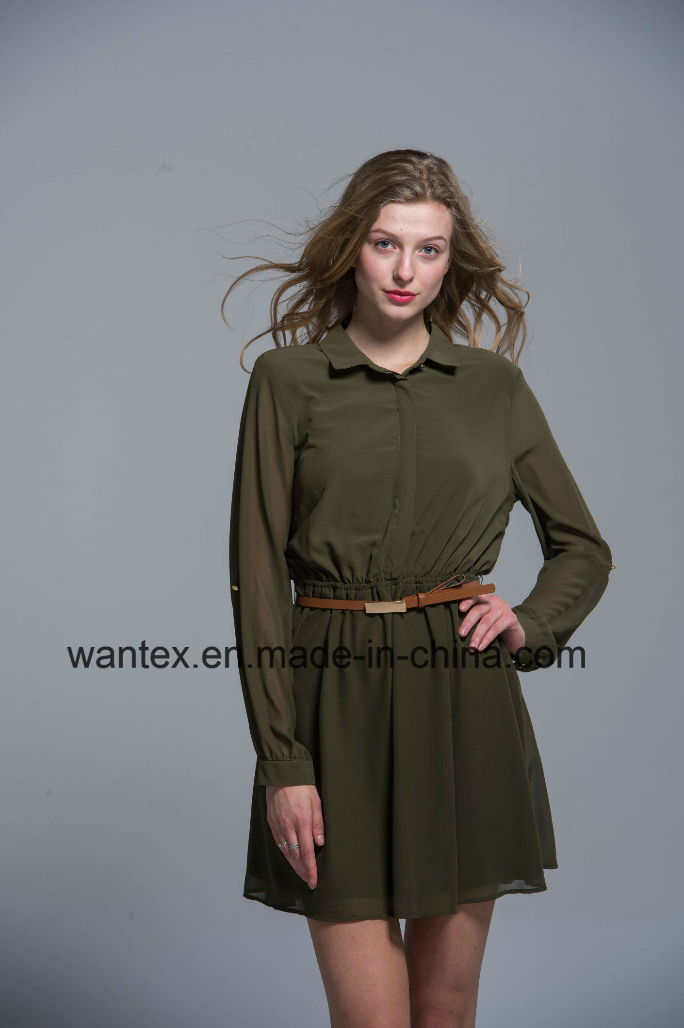 Ladies Dress 100% Polyester Spring Autumn Summer Fashion Includ Belt Green