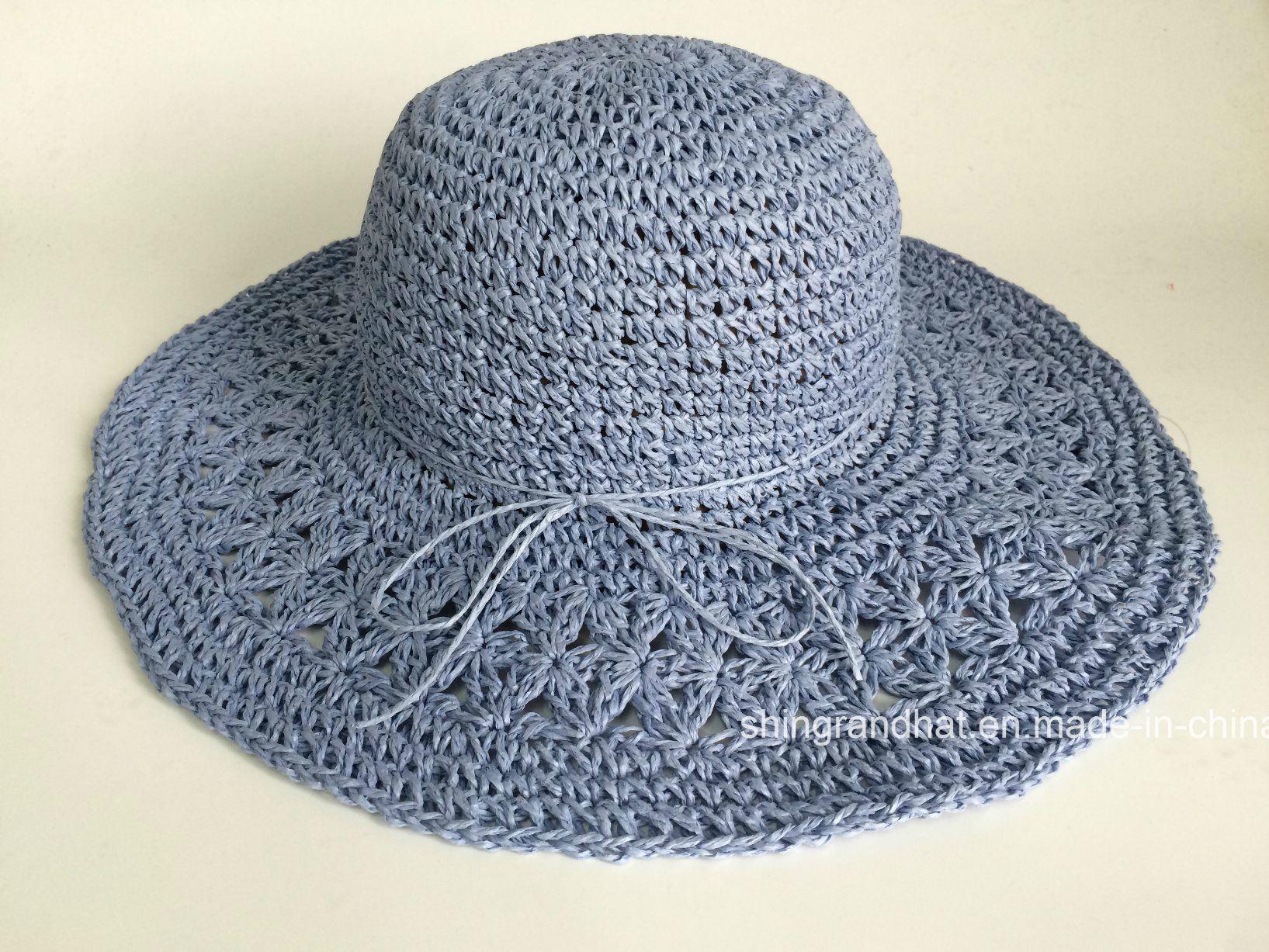 China Hand Crocheted Pattern Paper Straw Women Hat - China Straw Hat ...