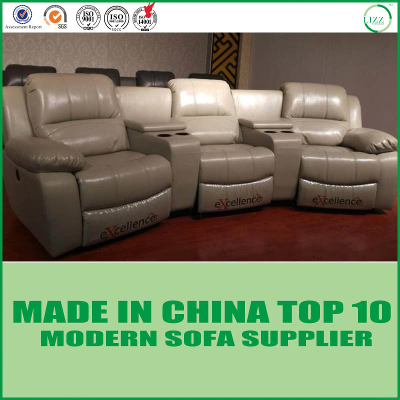 China Luxury Modern Home Theater Furniture Leather Reclinable Sofa