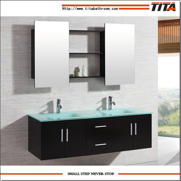 China Tita Sanitary Tempered Glass Top Modern Bathroom Vanity Bath