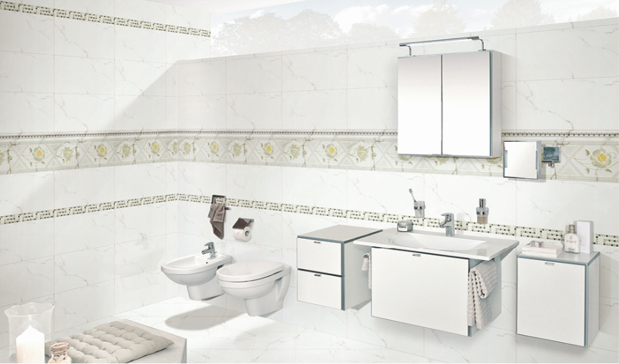 China 30x60 White Carrara Marble Look Bathroom Wall Ceramic Tile