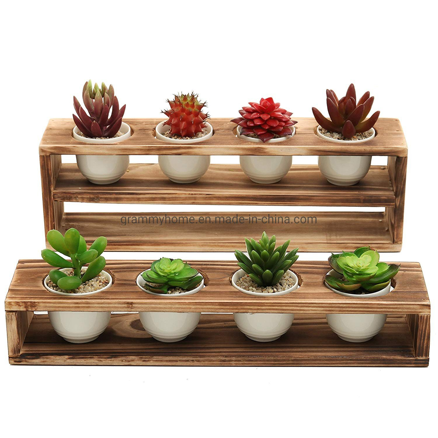 China Torched Wood Tiered Succulent Planter Stand With Mini White Ceramic Plant Pots China Wooden Crate And Wood Planter Price