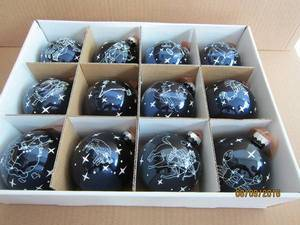 Set 12 Blue Glass Ball with Twelve Zodiac for Christmas