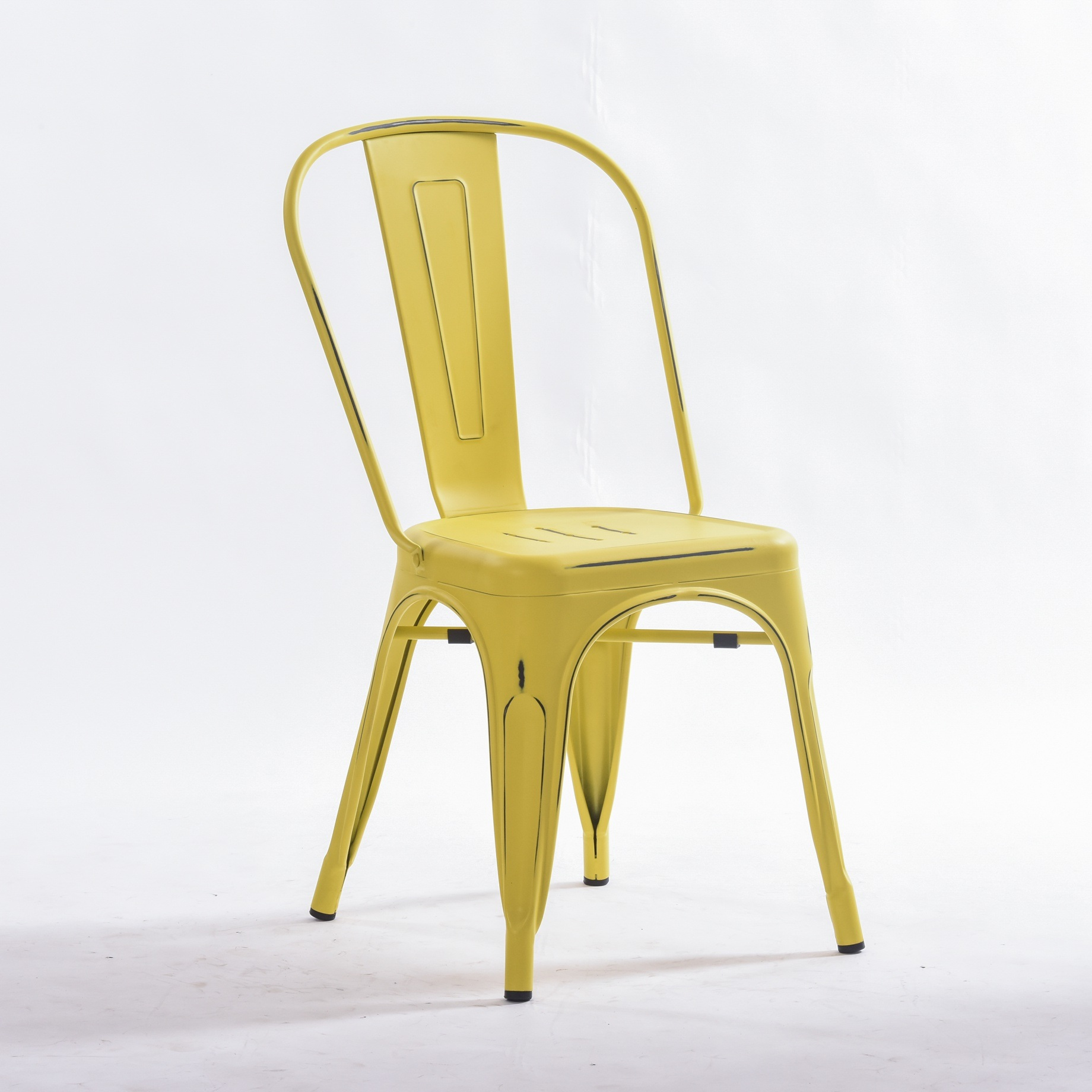 [Hot Item] Vintage Yellow Metal Dining Indoor-Outdoor Use Stackable  Industrial Tolix Chair