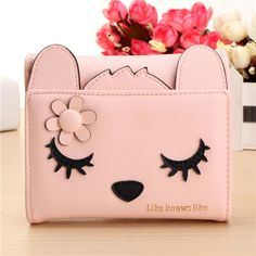 Women Cute Cat Short Card Holder Coin Wallet Bags (BDMC030)