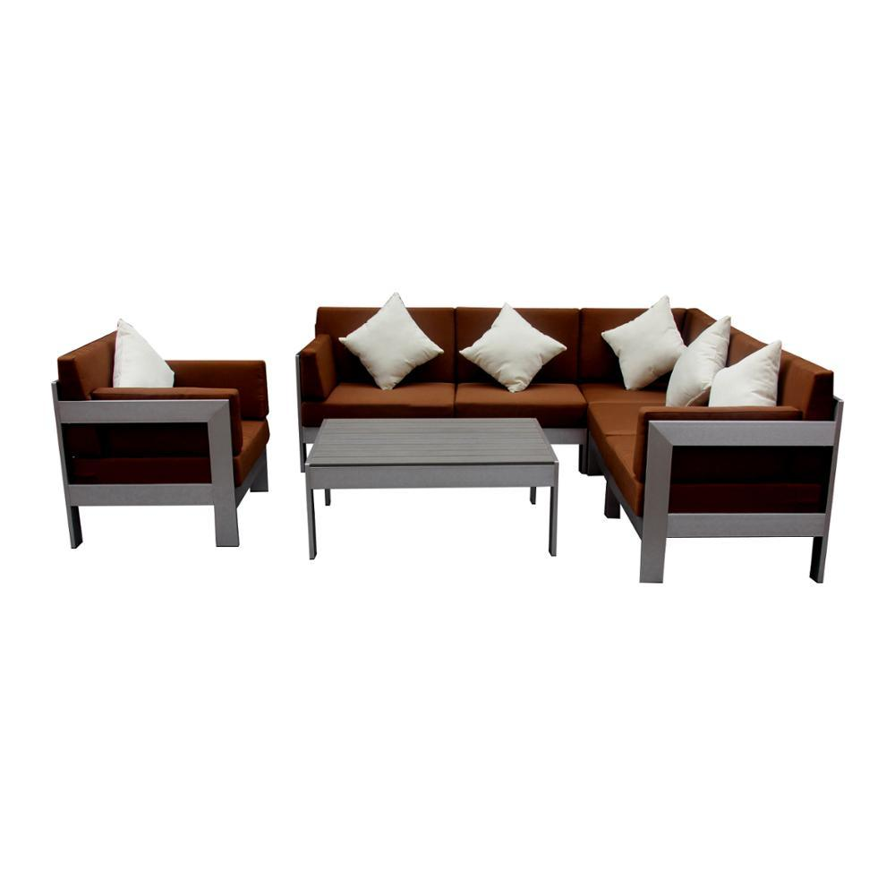 [Hot Item] Garden Outdoor Furniture Modular Corner Sofa Sets with Brown  Cushions