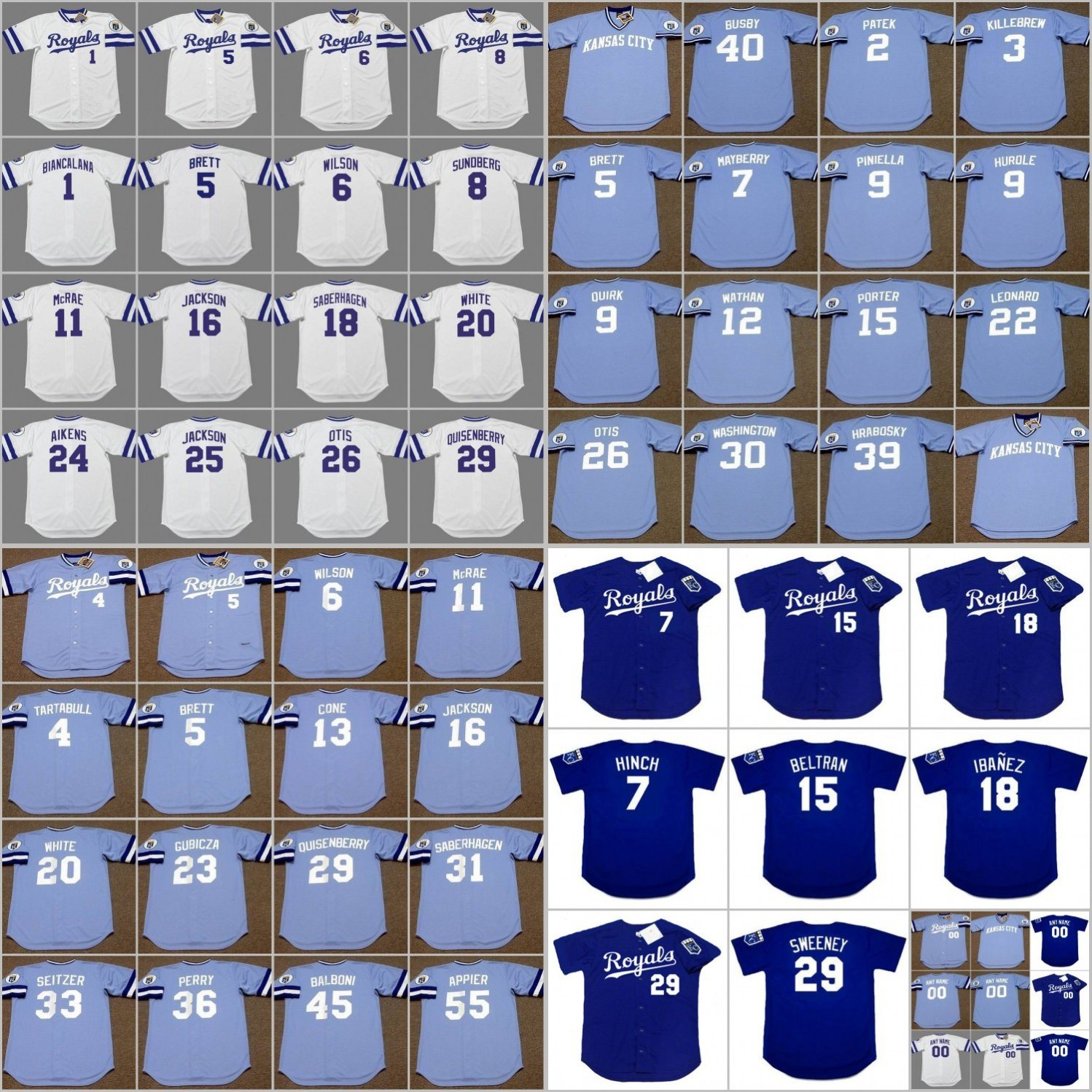 promo code fe60a d44ca [Hot Item] George Brett Bo Jackson Cusomized Throwback Baseball Jersey