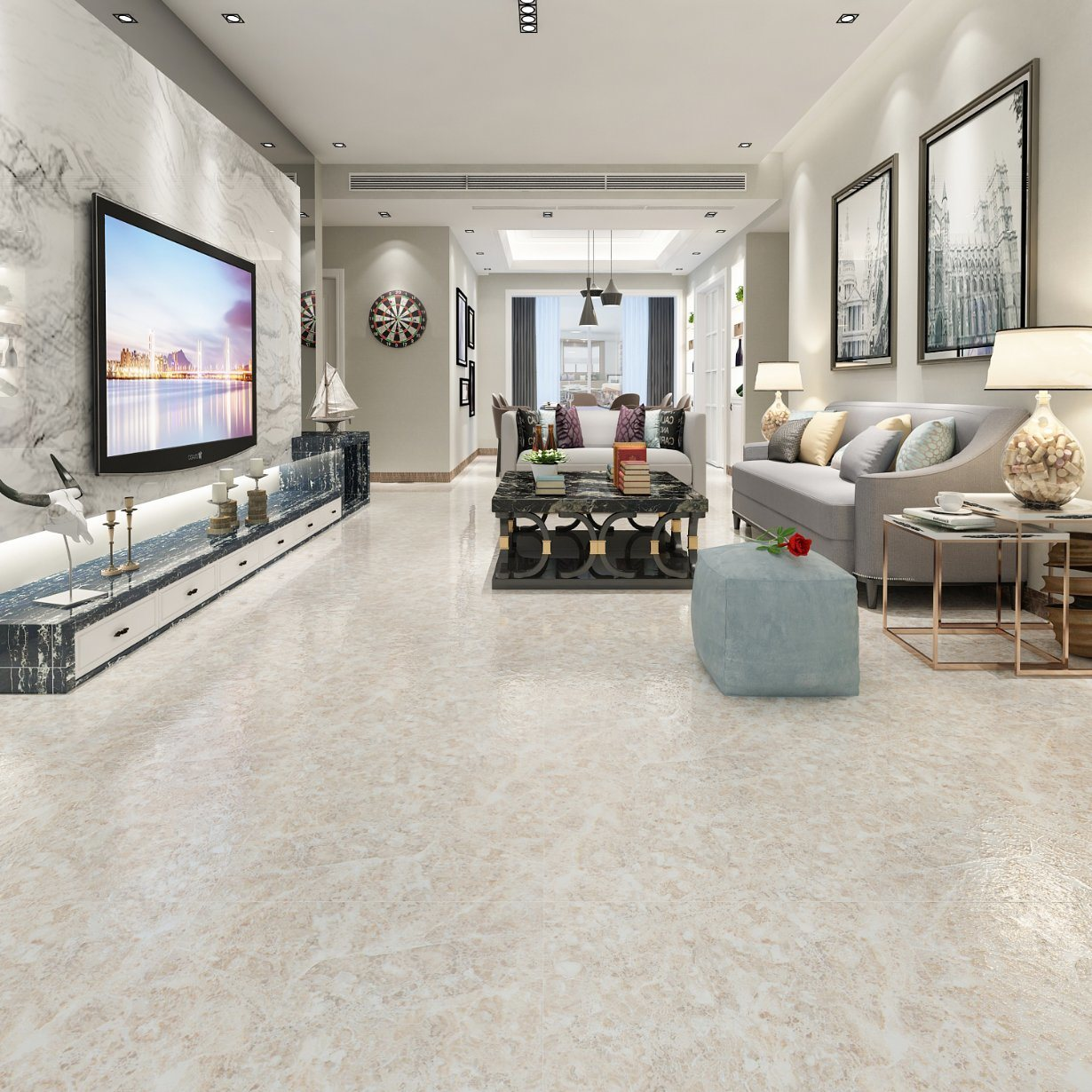 China Midwest Houston Mid America Chicago Marble Tile Floor Living