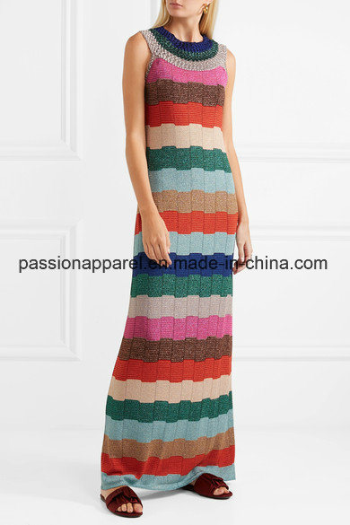 9867dfe1197d China 2018 High Quality Customized Striped Metallic Crochet Knit Maxi  Dresses - China Knit Maxi Dress, Knit Dress