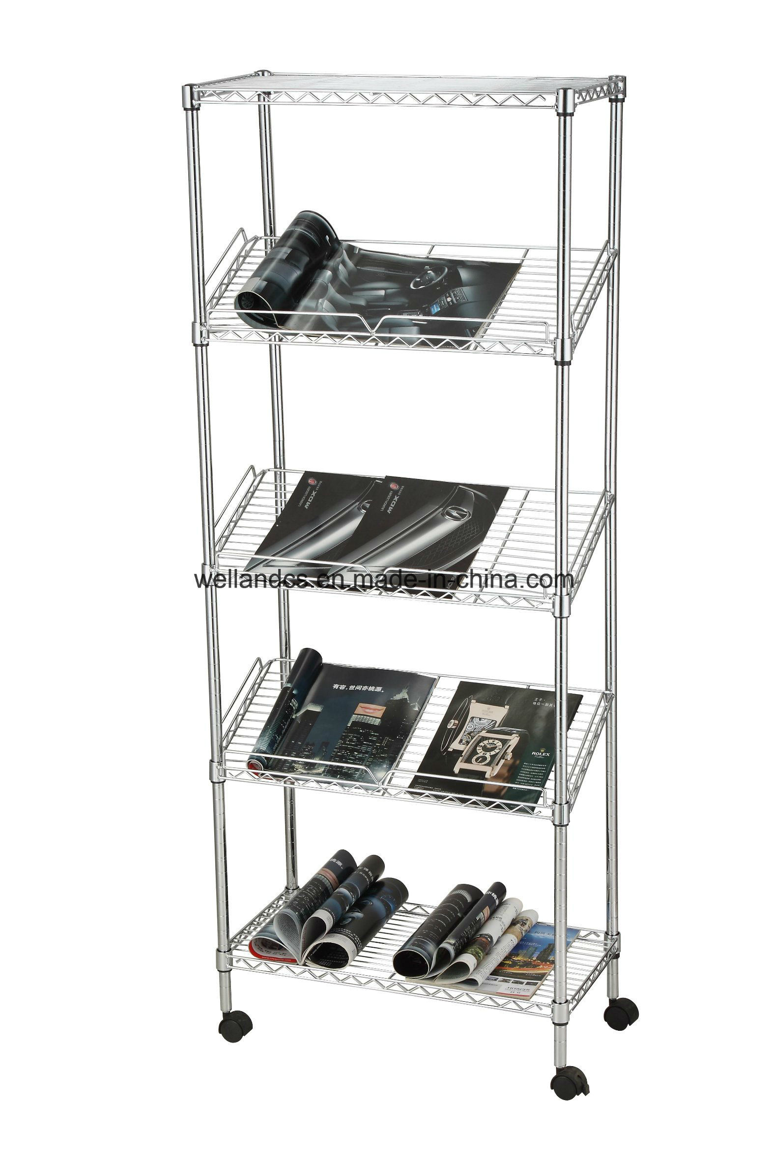 China DIY 5 Tiers Slanted Chrome Steel Wire Magazine/Book Display ...