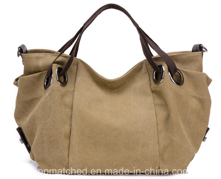 Women Canvas Handbag Shoulder Mummy Canvas Tote Lady Hand Bag