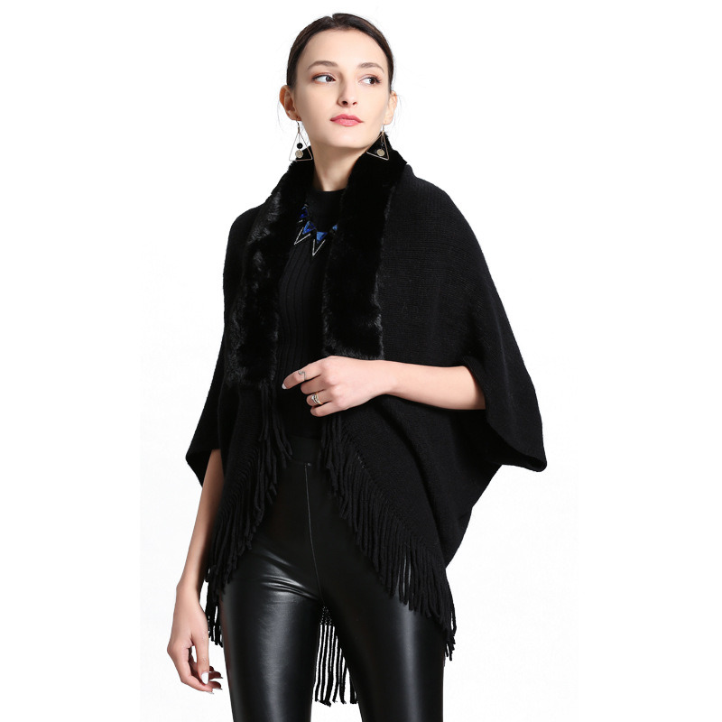 Customization of Fox Hair Collar Fringe Cashmere Knitted Cardigan Shawl pictures & photos