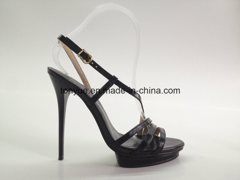 Lady Leather High Heel with Platform Sandals pictures & photos