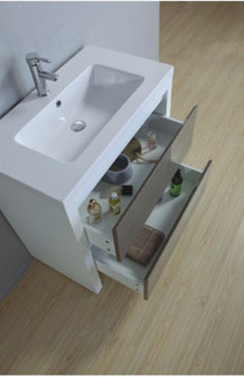 Hot Sell European MDF Glass Bathroom Cabinet with Mirror pictures & photos