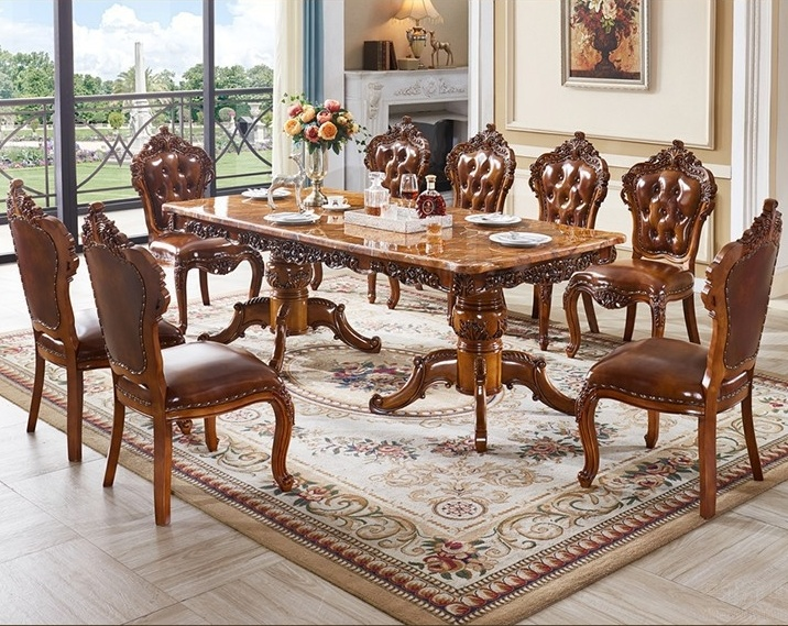 China Luxury American Style Villa Hotel Or Home Dining Marble Table With 10 Chair Set China Marble Dining Table Dining Room Furniture