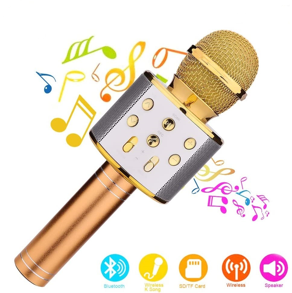 Gold Mini Convenient Mobile Phone K Song Microphone Microphone Cable Upgrade Section