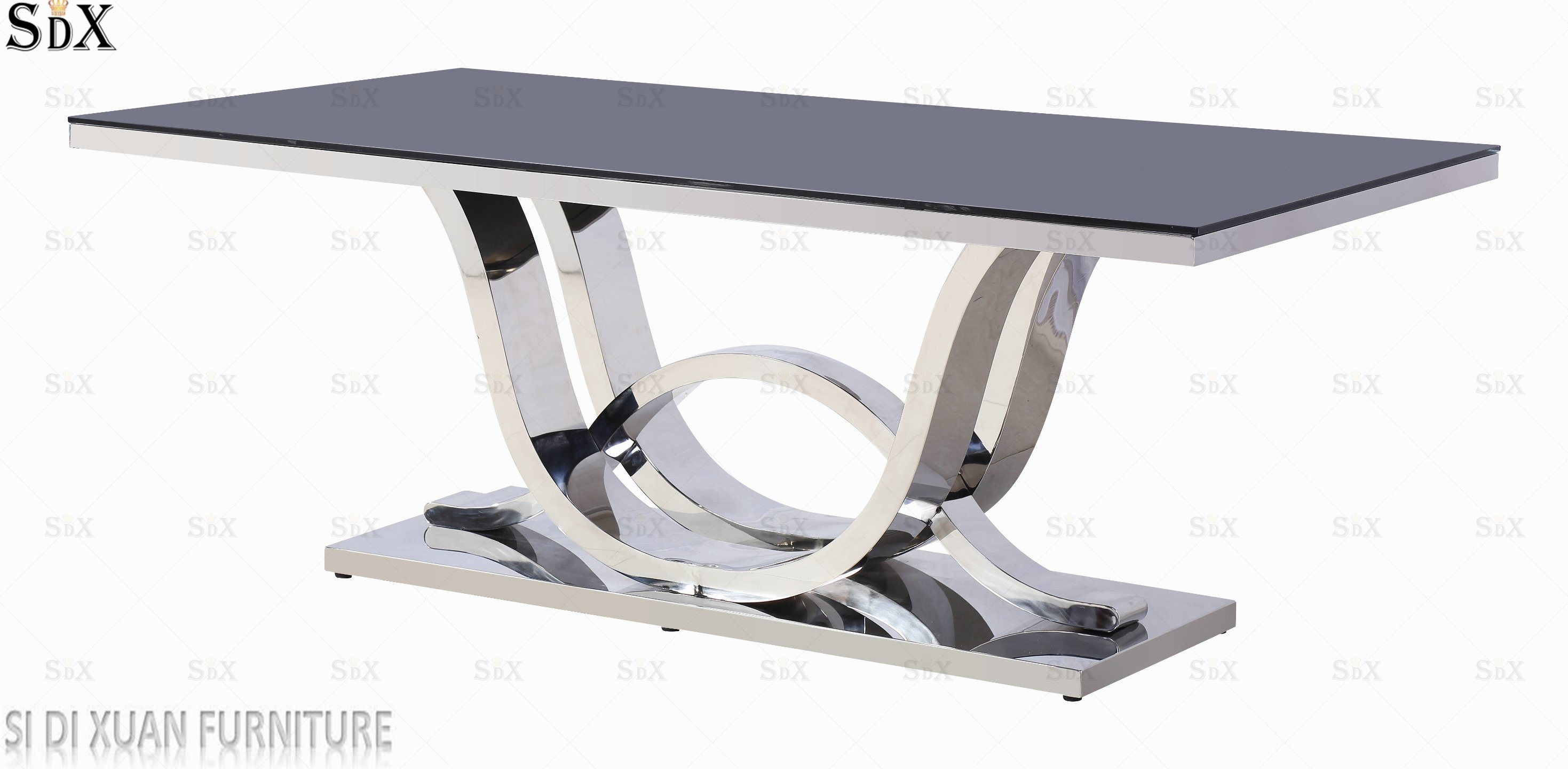 Hot Item Quality Products Stainless Steel Furniture Restaurant Tables Chairs Gl Dining Table
