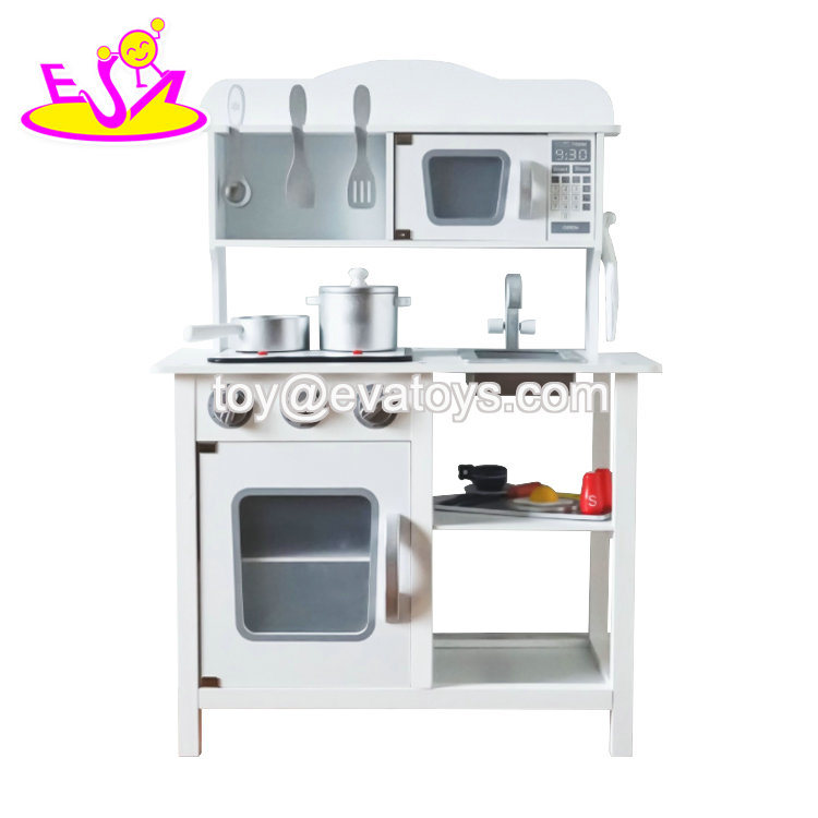 2019 Newly Released Kids White Wooden Play Kitchen Set with ...