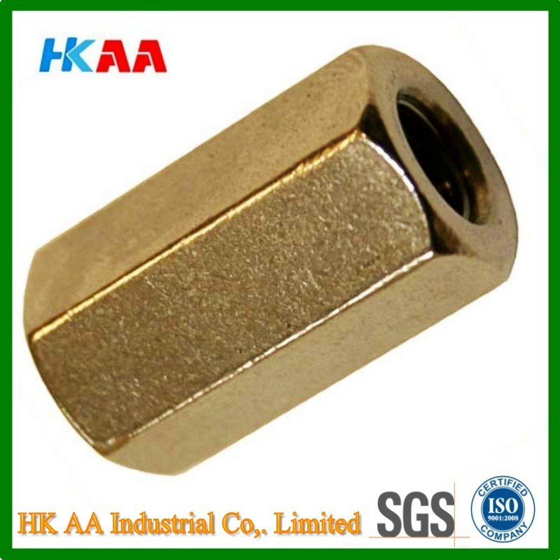 Hexagon Allthread Coupling Connector 3D Brass DIN6334