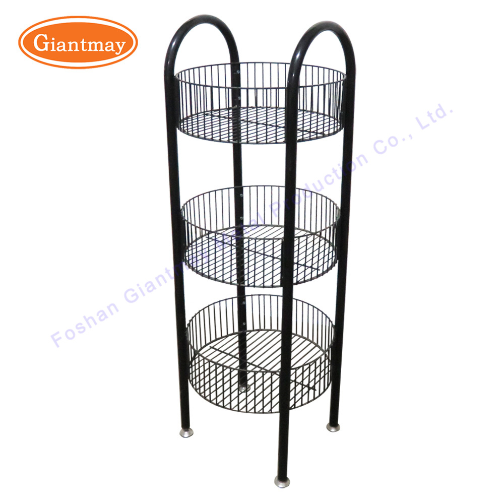 3 Tier Floor Standing Wrought Iron Metal Wire Basket Storage Toy Doll Display Stand Rack