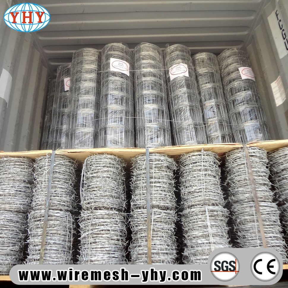 China Hot Dipped Galvanized 12X14 Gauge Barbed Wire Puller Fence for ...