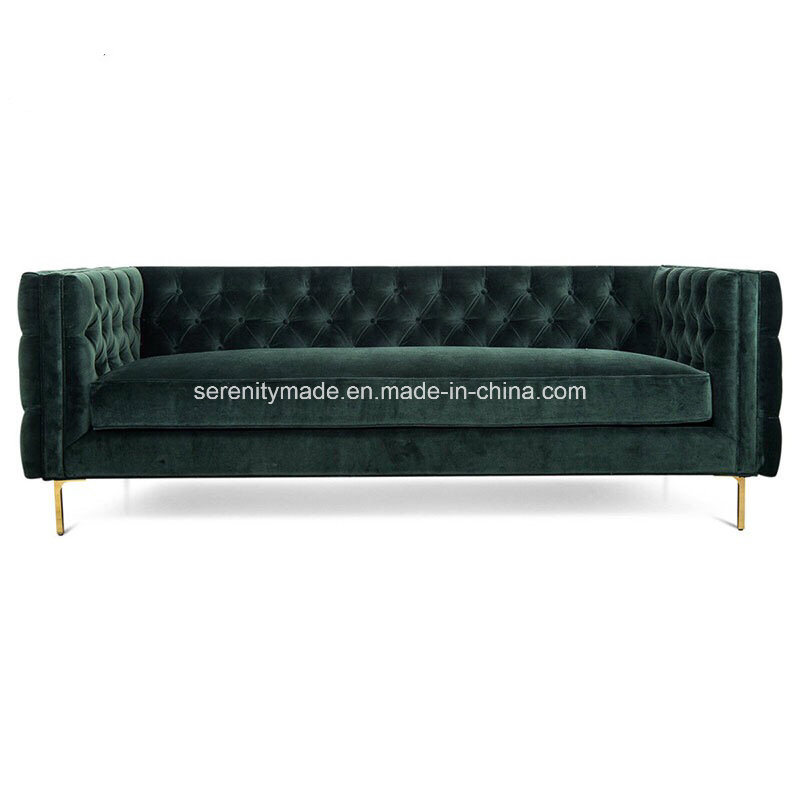 China Europen Style Metal Golden Legs, Tufted Back Sofa