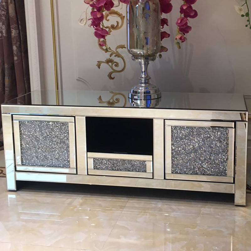 [Hot Item] Modern Silver Mirrored Furniture Living Room TV Stands Crushed  Diamond Crystal Mirrored TV Cabinet